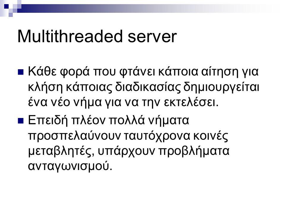 Multithreaded server Κάθε φορά που φτάνει κάποια αίτηση για κλήση κάποιας διαδικασίας δημιουργείται ένα νέο νήμα για να την εκτελέσει.
