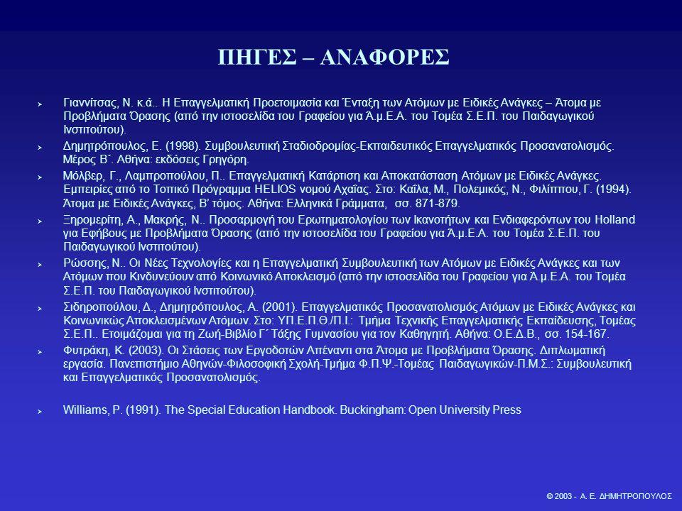 ΠΗΓΕΣ ΣΤΟ ΔΙΑΔΙΚΤΥΟ  Κέντρο Εκπαίδευσης και Αποκατάστασης Τυφλών (Κ.Ε.Α.Τ.): http://www.keat.gr/  Πανελλήνιος Σύνδεσμος Τυφλών: http://www.pst.gr/  Παιδαγωγικό Ινστιτούτο-Τομέας Σ.Ε.Π.-Γραφείο για Άτομα με Ειδικές Ανάγκες και Άτομα που Κινδυνεύουν από Κοινωνικό Αποκλεισμό: http://www.pi-schools.gr/ (26/10/2003)  Φάρος Τυφλών της Ελλάδος: http://www.faros.org.gr/  American Foundation of the Blind: http://www.afb.org  The Canadian National Institute for the BlindQ http://www.cnib.ca  Crudden, A., McBroom, L.