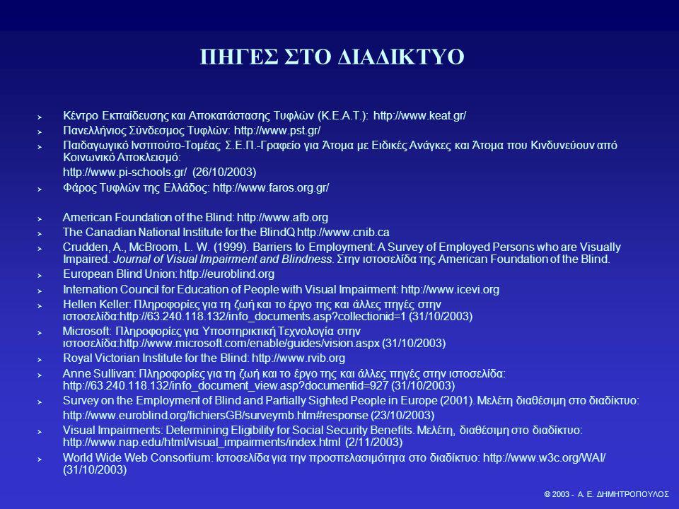 ΠΗΓΕΣ ΣΤΟ ΔΙΑΔΙΚΤΥΟ  Κέντρο Εκπαίδευσης και Αποκατάστασης Τυφλών (Κ.Ε.Α.Τ.): http://www.keat.gr/  Πανελλήνιος Σύνδεσμος Τυφλών: http://www.pst.gr/ 