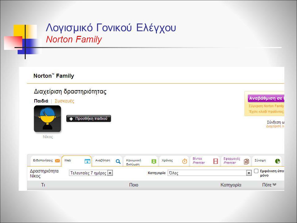 Λογισμικό Γονικού Ελέγχου Norton Family