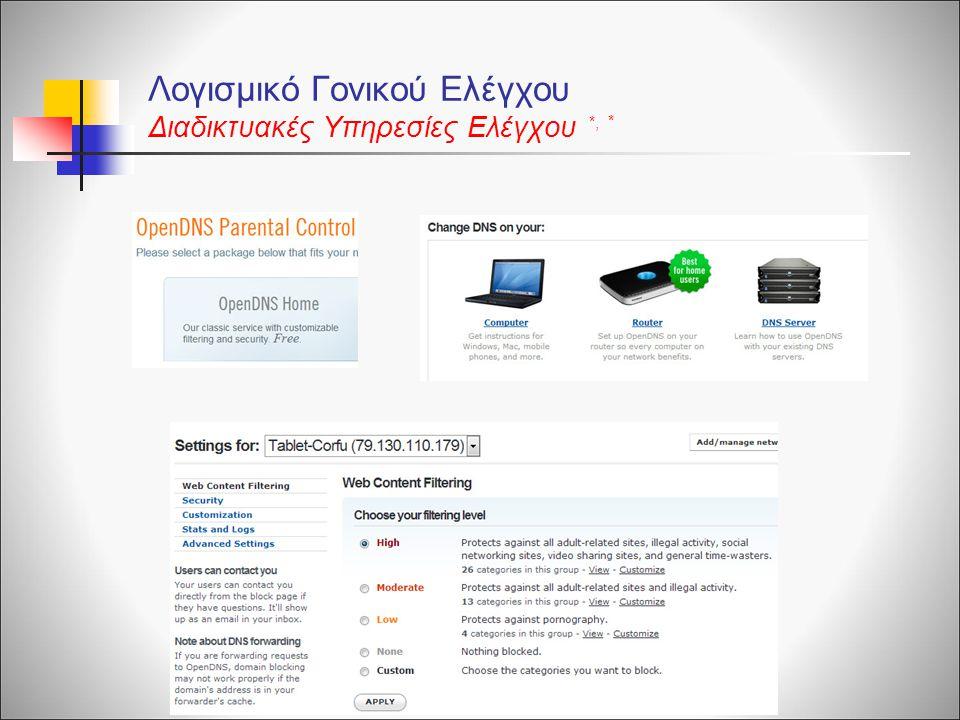 Λογισμικό Γονικού Ελέγχου Διαδικτυακές Υπηρεσίες Ελέγχου * *,*,