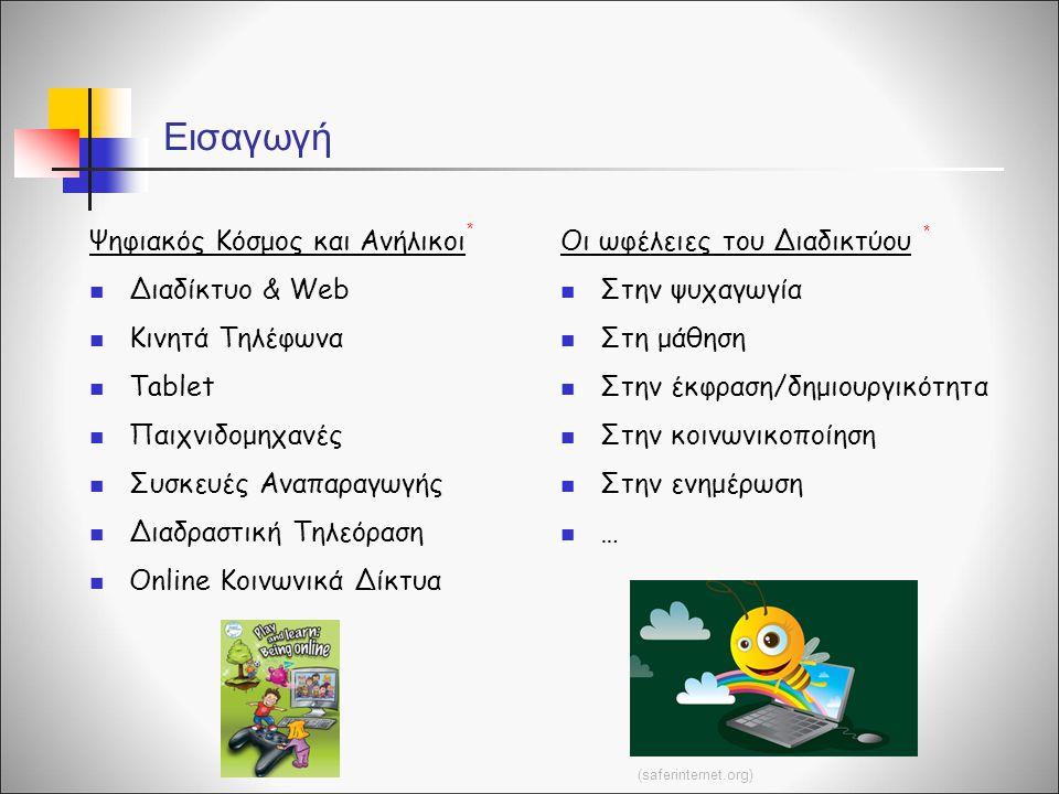 Ψηφιακός Κόσμος και Ανήλικοι Διαδίκτυο & Web Κινητά Τηλέφωνα Tablet Παιχνιδομηχανές Συσκευές Αναπαραγωγής Διαδραστική Τηλεόραση Online Κοινωνικά Δίκτυ