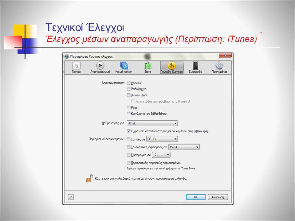 Τεχνικοί Έλεγχοι Έλεγχος μέσων αναπαραγωγής (Περίπτωση: iTunes) *