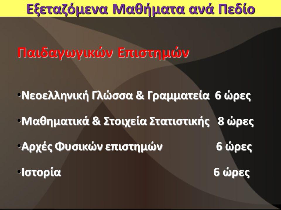 Εξεταζόμενα Μαθήματα ανά Πεδίο Παιδαγωγικών Επιστημών Νεοελληνική Γλώσσα & Γραμματεία 6 ώρες Νεοελληνική Γλώσσα & Γραμματεία 6 ώρες Μαθηματικά & Στοιχεία Στατιστικής 8 ώρες Μαθηματικά & Στοιχεία Στατιστικής 8 ώρες Αρχές Φυσικών επιστημών 6 ώρες Αρχές Φυσικών επιστημών 6 ώρες Ιστορία 6 ώρες Ιστορία 6 ώρες