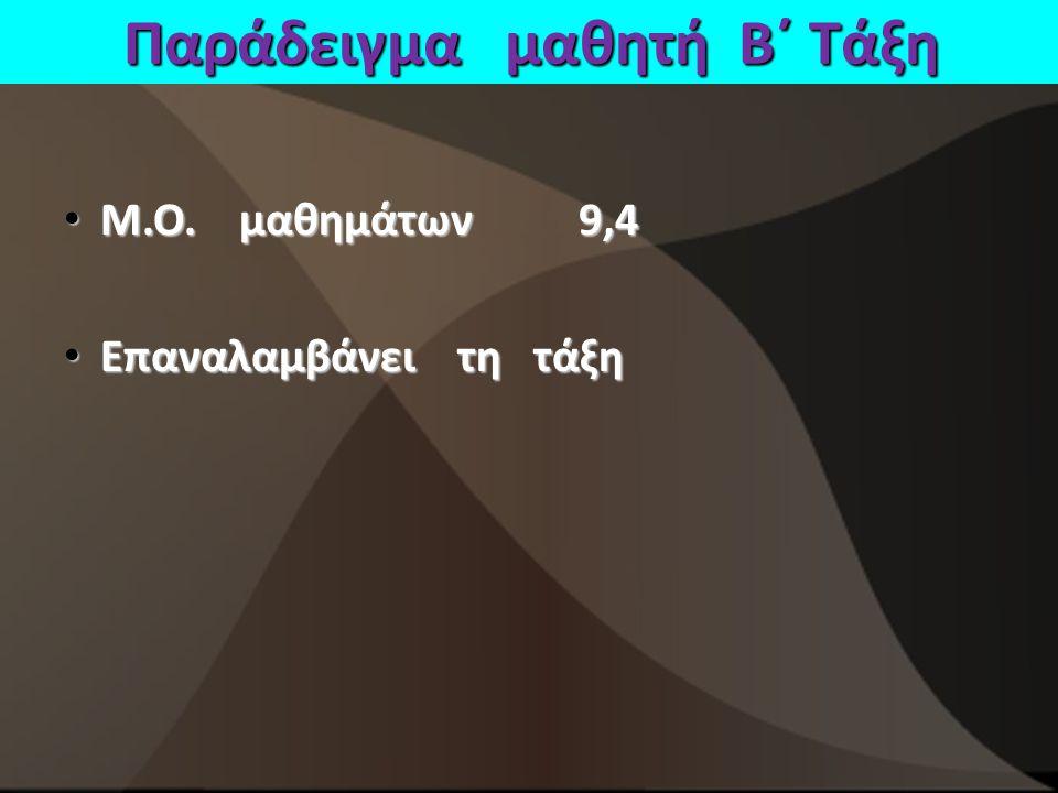 Παράδειγμα μαθητή Β΄ Τάξη Μ.Ο.μαθημάτων 9,4 Μ.Ο.