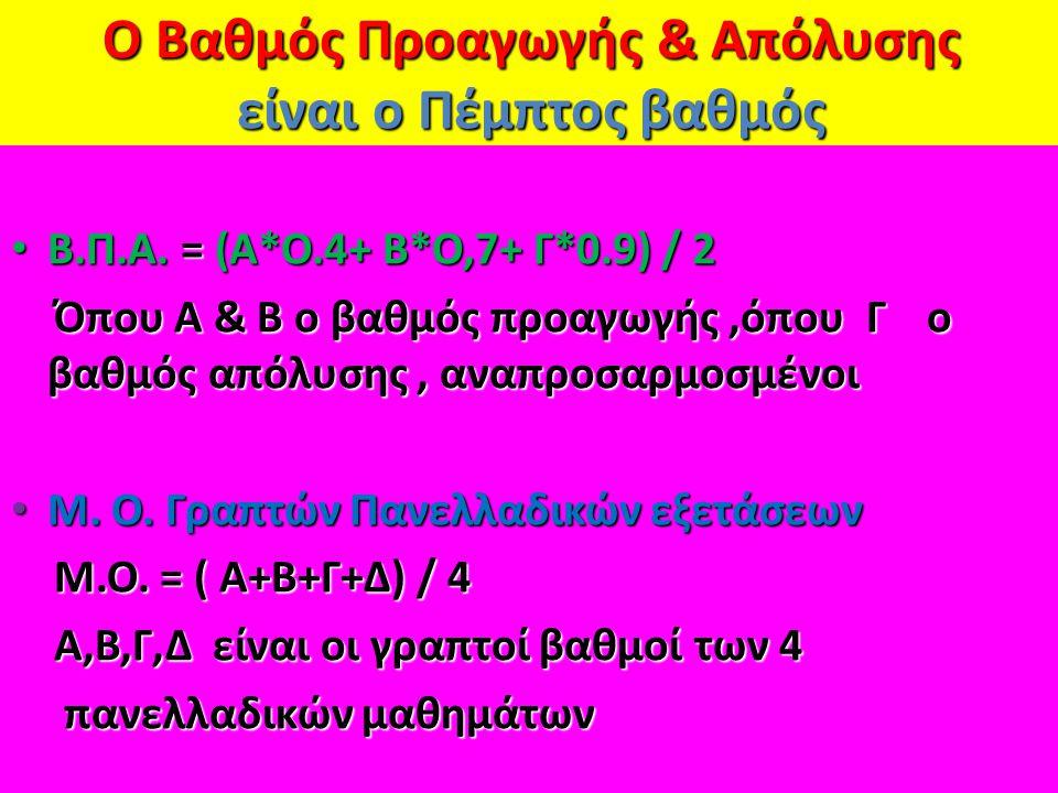 Ο Βαθμός Προαγωγής & Απόλυσης είναι ο Πέμπτος βαθμός Β.Π.Α. = (Α*Ο.4+ Β*Ο,7+ Γ*0.9) / 2 Β.Π.Α. = (Α*Ο.4+ Β*Ο,7+ Γ*0.9) / 2 Όπου Α & Β ο βαθμός προαγωγ