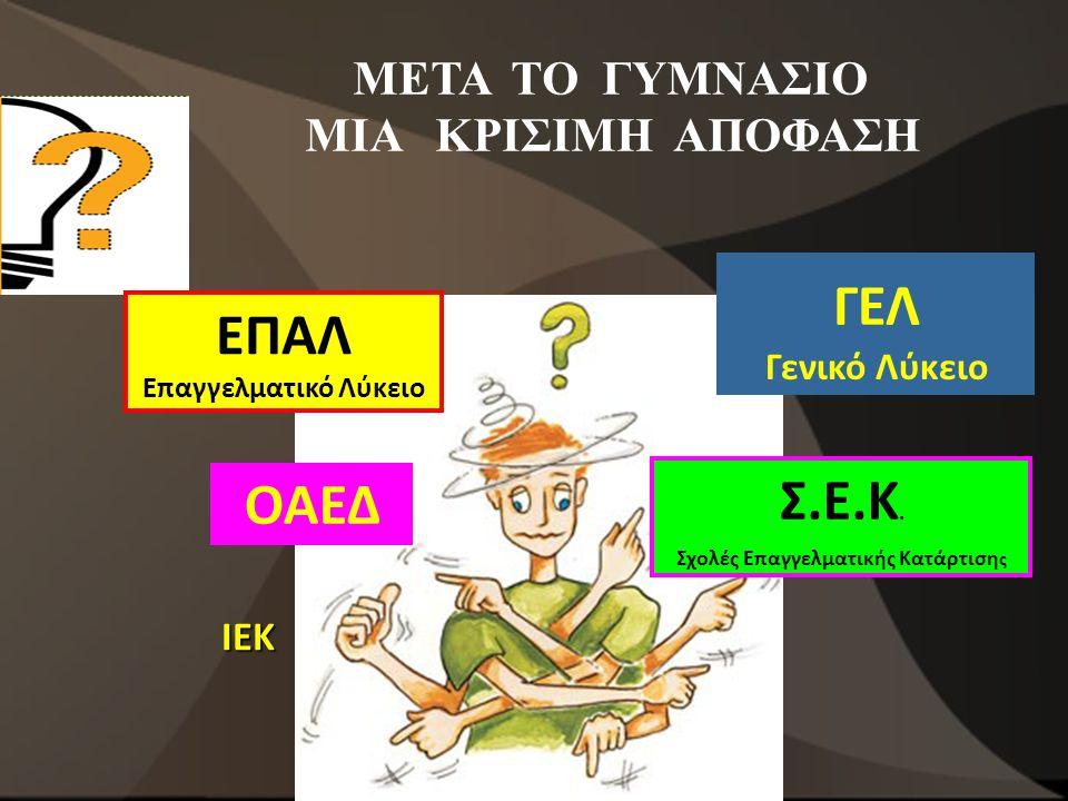 ΣΠΟΥΔΕΣ ΜΕΤΑ ΤΟ ΓΥΜΝΑΣΙΟ Στην Ελλάδα η εκπαίδευση για παιδιά από 6 έως 15 ετών είναι υποχρεωτική.