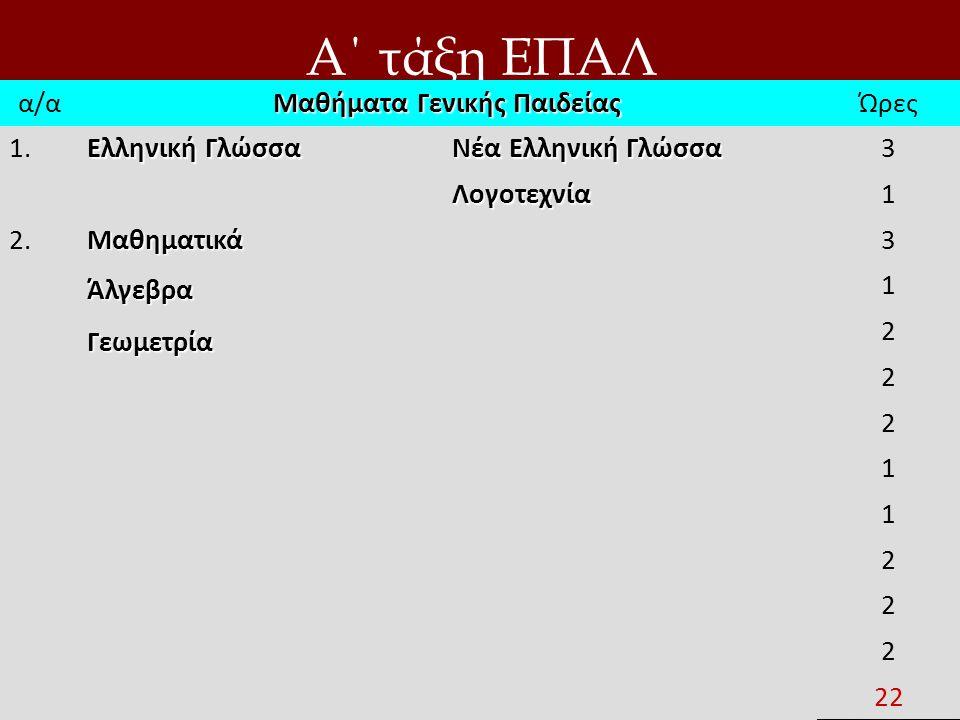 Α΄ τάξη ΕΠΑΛ α/α Μαθήματα Γενικής Παιδείας Ώρες 1. Ελληνική Γλώσσα Νέα Ελληνική Γλώσσα 3 Λογοτεχνία1 2.ΜαθηματικάΆλγεβραΓεωμετρία 3 1 2 2 2 1 1 2 2 2