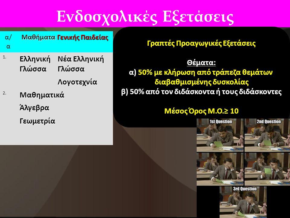 Ενδοσχολικές Εξετάσεις α/ α Μαθήματα Γενικής Παιδείας 1. Ελληνική Γλώσσα Νέα Ελληνική Γλώσσα Λογοτεχνία 2.ΜαθηματικάΆλγεβραΓεωμετρία Γραπτές Προαγωγικ
