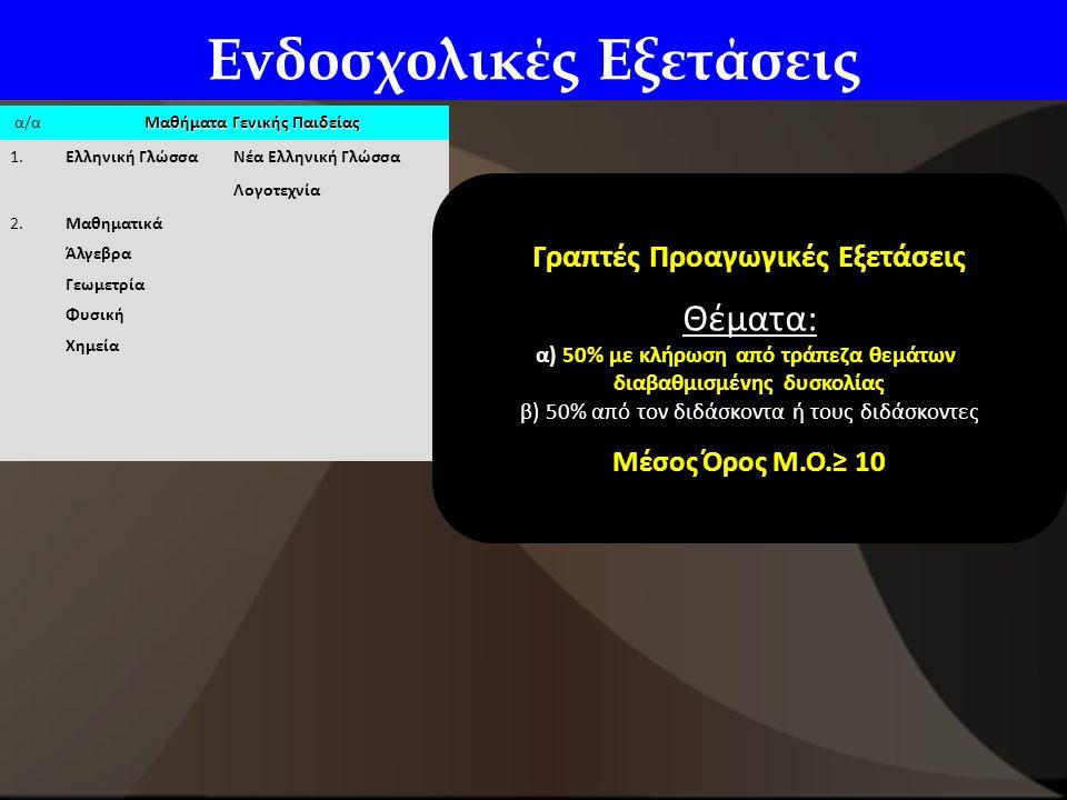 Ενδοσχολικές Εξετάσεις α/α Μαθήματα Γενικής Παιδείας 1.Ελληνική ΓλώσσαΝέα Ελληνική Γλώσσα Λογοτεχνία 2.Μαθηματικά Άλγεβρα Γεωμετρία Φυσική Χημεία Γραπτές Προαγωγικές Εξετάσεις Θέματα: α) 50% με κλήρωση από τράπεζα θεμάτων διαβαθμισμένης δυσκολίας β) 50% από τον διδάσκοντα ή τους διδάσκοντες Μέσος Όρος Μ.Ο.≥ 10