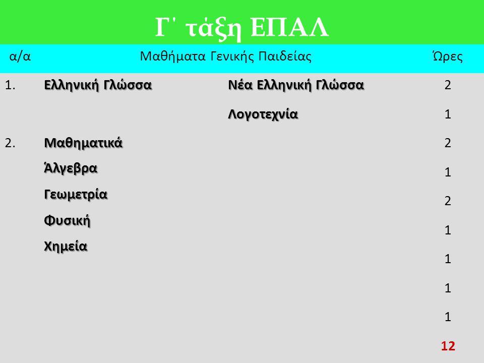 Γ΄ τάξη ΕΠΑΛ α/αΜαθήματα Γενικής ΠαιδείαςΏρες 1. Ελληνική Γλώσσα Νέα Ελληνική Γλώσσα 2 Λογοτεχνία1 2.ΜαθηματικάΆλγεβραΓεωμετρίαΦυσικήΧημεία 2 1 2 1 1