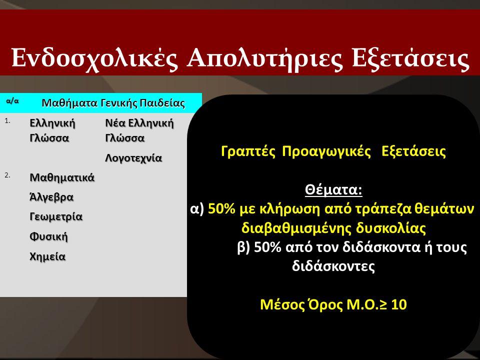 Ενδοσχολικές Απολυτήριες Εξετάσεις α/α Μαθήματα Γενικής Παιδείας 1. Ελληνική Γλώσσα Νέα Ελληνική Γλώσσα Λογοτεχνία 2.ΜαθηματικάΆλγεβραΓεωμετρίαΦυσικήΧ