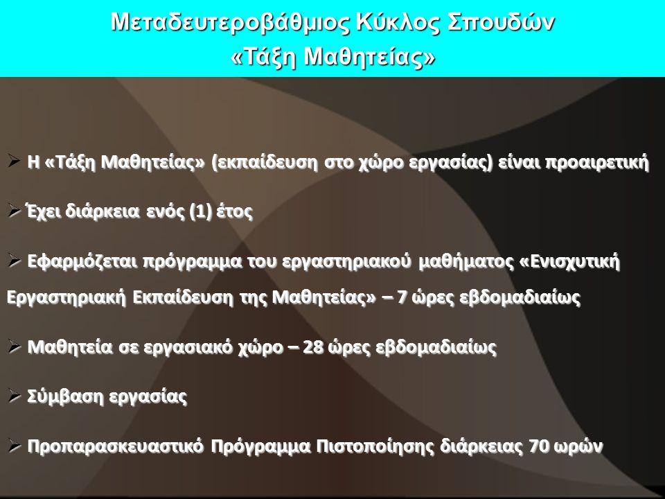 Μεταδευτεροβάθμιος Κύκλος Σπουδών «Τάξη Μαθητείας» Η «Τάξη Μαθητείας» (εκπαίδευση στο χώρο εργασίας) είναι προαιρετική  Η «Τάξη Μαθητείας» (εκπαίδευση στο χώρο εργασίας) είναι προαιρετική  Έχει διάρκεια ενός (1) έτος  Εφαρμόζεται πρόγραμμα του εργαστηριακού μαθήματος «Ενισχυτική Εργαστηριακή Εκπαίδευση της Μαθητείας» – 7 ώρες εβδομαδιαίως  Μαθητεία σε εργασιακό χώρο – 28 ώρες εβδομαδιαίως  Σύμβαση εργασίας  Προπαρασκευαστικό Πρόγραμμα Πιστοποίησης διάρκειας 70 ωρών