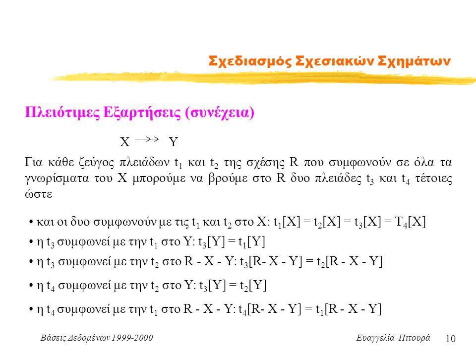 Βάσεις Δεδομένων 1999-2000 Ευαγγελία Πιτουρά 10 Σχεδιασμός Σχεσιακών Σχημάτων Πλειότιμες Εξαρτήσεις (συνέχεια) Για κάθε ζεύγος πλειάδων t 1 και t 2 τη