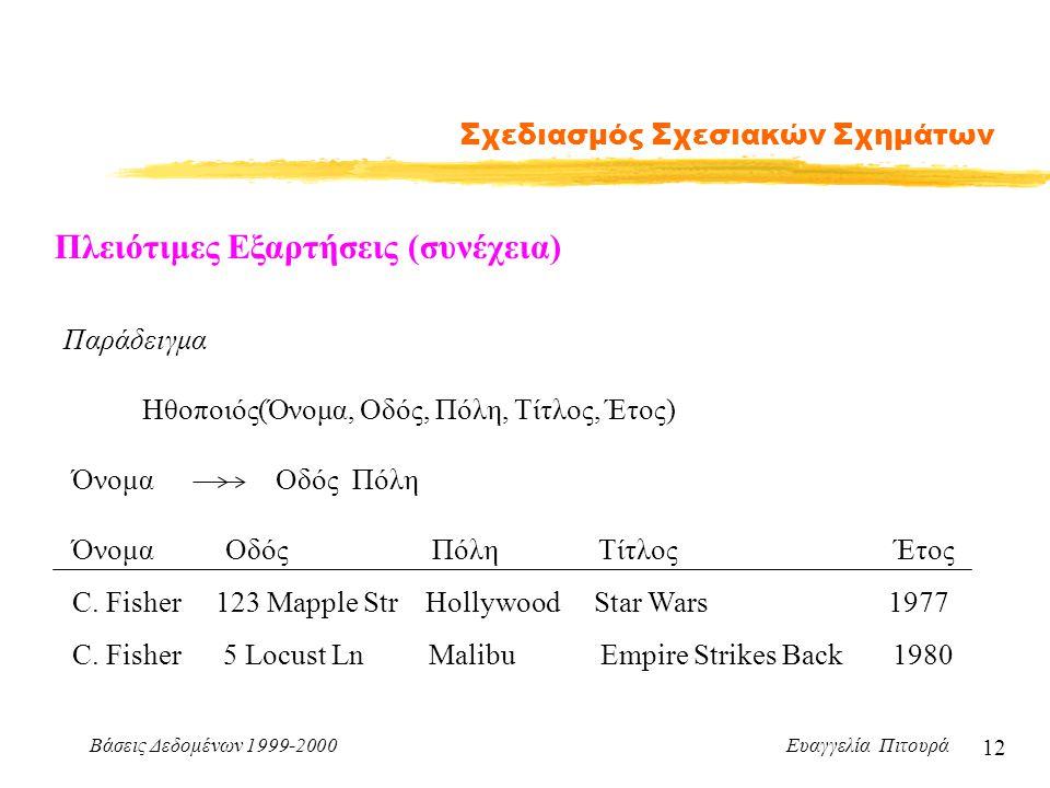 Βάσεις Δεδομένων 1999-2000 Ευαγγελία Πιτουρά 12 Σχεδιασμός Σχεσιακών Σχημάτων Πλειότιμες Εξαρτήσεις (συνέχεια) Παράδειγμα Ηθοποιός(Όνομα, Οδός, Πόλη,