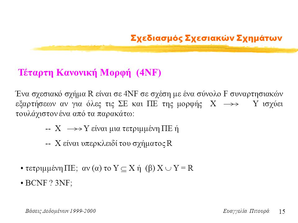 Βάσεις Δεδομένων 1999-2000 Ευαγγελία Πιτουρά 15 Σχεδιασμός Σχεσιακών Σχημάτων Τέταρτη Κανονική Μορφή (4NF) Ένα σχεσιακό σχήμα R είναι σε 4NF σε σχέση