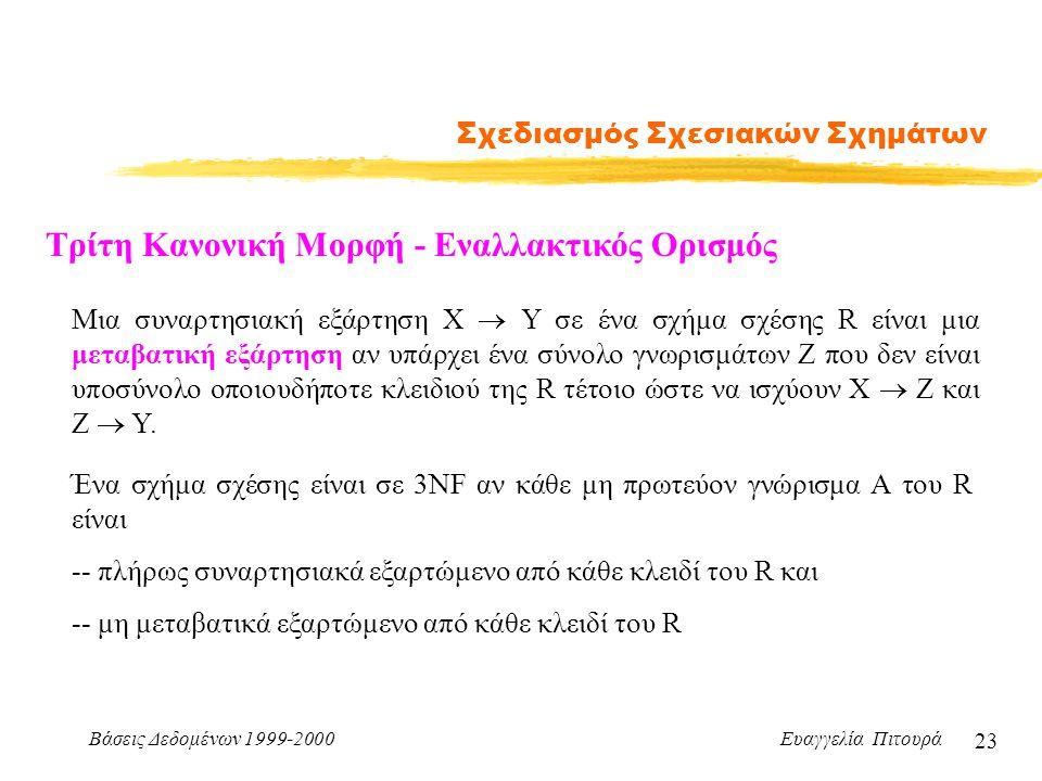 Βάσεις Δεδομένων 1999-2000 Ευαγγελία Πιτουρά 23 Σχεδιασμός Σχεσιακών Σχημάτων Τρίτη Κανονική Μορφή - Εναλλακτικός Ορισμός Ένα σχήμα σχέσης είναι σε 3N