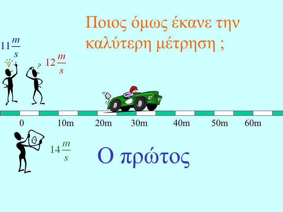 Ο τρίτος αφήνει να περάσουν 4sec και διαπιστώνει ότι το αυτοκίνητο μετατοπίστηκε 56m. Υπολογίζει λοιπόν :
