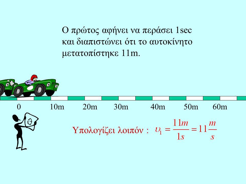 Ο πρώτος αφήνει να περάσει 1sec και διαπιστώνει ότι το αυτοκίνητο μετατοπίστηκε 11m.