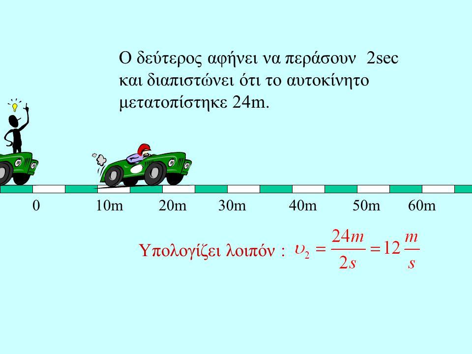 Ο δεύτερος αφήνει να περάσουν 2sec και διαπιστώνει ότι το αυτοκίνητο μετατοπίστηκε 24m.