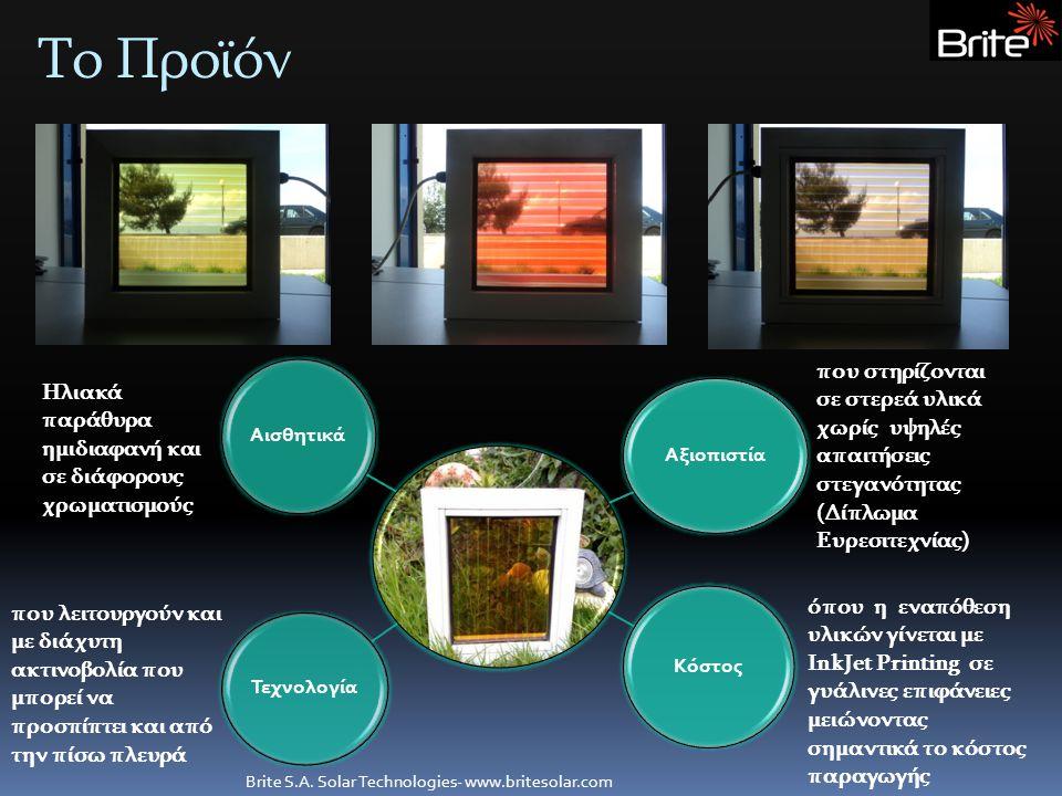 Το Προϊόν Brite S.A. Solar Technologies- www.britesolar.com Αξιοπιστία Κόστος Αισθητικά Τεχνολογία Ηλιακά παράθυρα ημιδιαφανή και σε διάφορους χρωματι