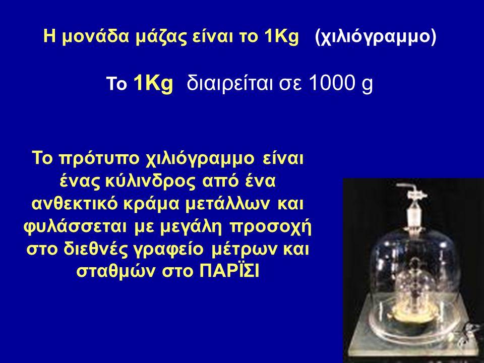 Η μονάδα μάζας είναι το 1Kg (χιλιόγραμμο) Το 1Kg διαιρείται σε 1000 g Το πρότυπο χιλιόγραμμο είναι ένας κύλινδρος από ένα ανθεκτικό κράμα μετάλλων και φυλάσσεται με μεγάλη προσοχή στο διεθνές γραφείο μέτρων και σταθμών στο ΠΑΡΪΣΙ