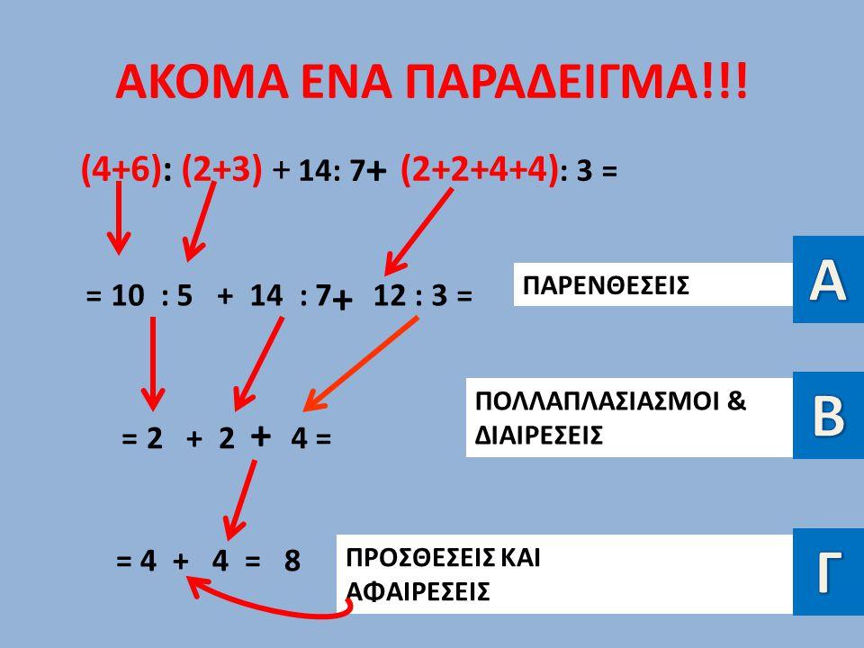 ΑΚΟΜΑ ΕΝΑ ΠΑΡΑΔΕΙΓΜΑ!!! (4+6): (2+3) + 14: 7 (2+2+4+4) : 3 = = 10 : 5 + 14 : 712 : 3 = = 2 + 24 =4 = = 4 + 4 = 8 ΠΑΡΕΝΘΕΣΕΙΣ ΠΟΛΛΑΠΛΑΣΙΑΣΜΟΙ & ΔΙΑΙΡΕΣ