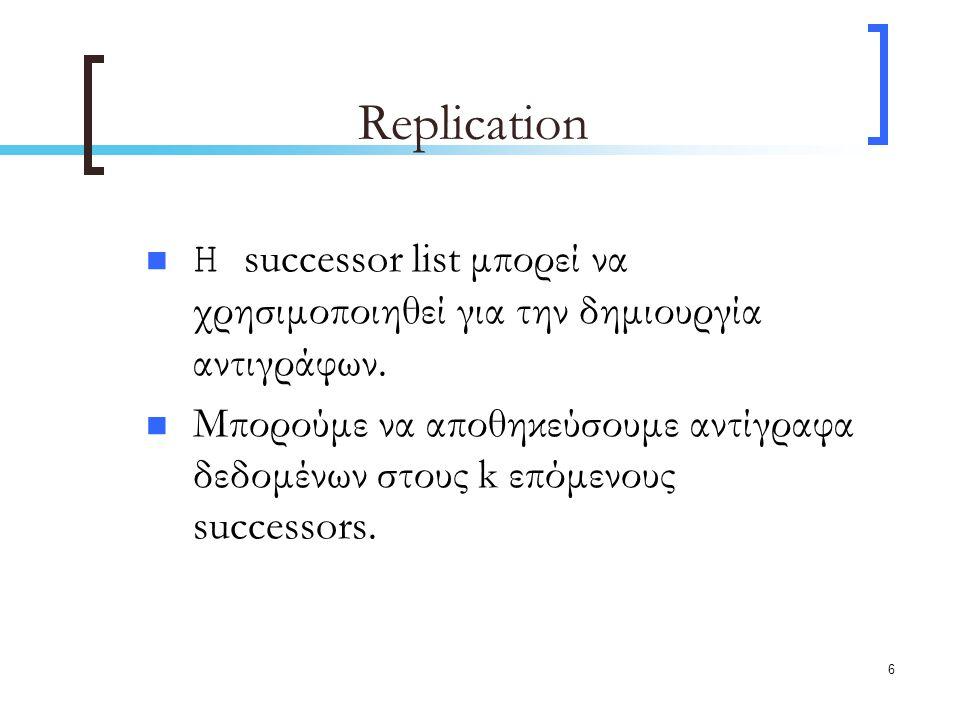 6 Replication H successor list μπορεί να χρησιμοποιηθεί για την δημιουργία αντιγράφων.
