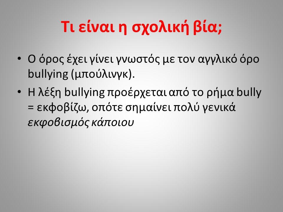 ΜΟΡΦΕΣ ΣΧΟΛΙΚΗΣ ΒΙΑΣ Σωματική Λεκτική Ψυχολογική Βανδαλισμός Σεξουαλική Έχει ως στόχο και άτομα (μαθητές) και το σχολικό κτίριο (σχολική περιουσία)