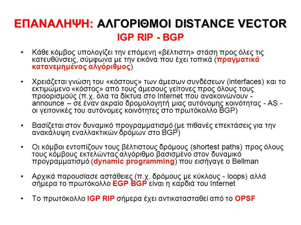 ΕΠΑΝΑΛΗΨΗ: ΑΛΓΟΡΙΘΜΟΙ DISTANCE VECTOR ΕΠΑΝΑΛΗΨΗ: ΑΛΓΟΡΙΘΜΟΙ DISTANCE VECTOR IGP RIP - BGP Κάθε κόμβος υπολογίζει την επόμενη «βέλτιστη» στάση προς όλε