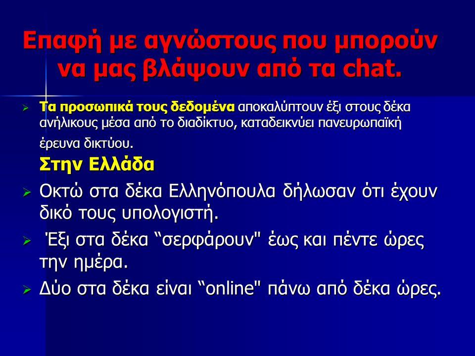 Επαφή με αγνώστους που μπορούν να μας βλάψουν από τα chat.  Τα προσωπικά τους δεδομένα αποκαλύπτουν έξι στους δέκα ανήλικους μέσα από το διαδίκτυο, κ