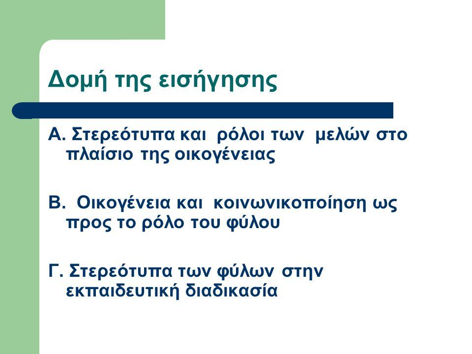 Δομή της εισήγησης Α. Στερεότυπα και ρόλοι των μελών στο πλαίσιο της οικογένειας Β. Οικογένεια και κοινωνικοποίηση ως προς το ρόλο του φύλου Γ. Στερεό