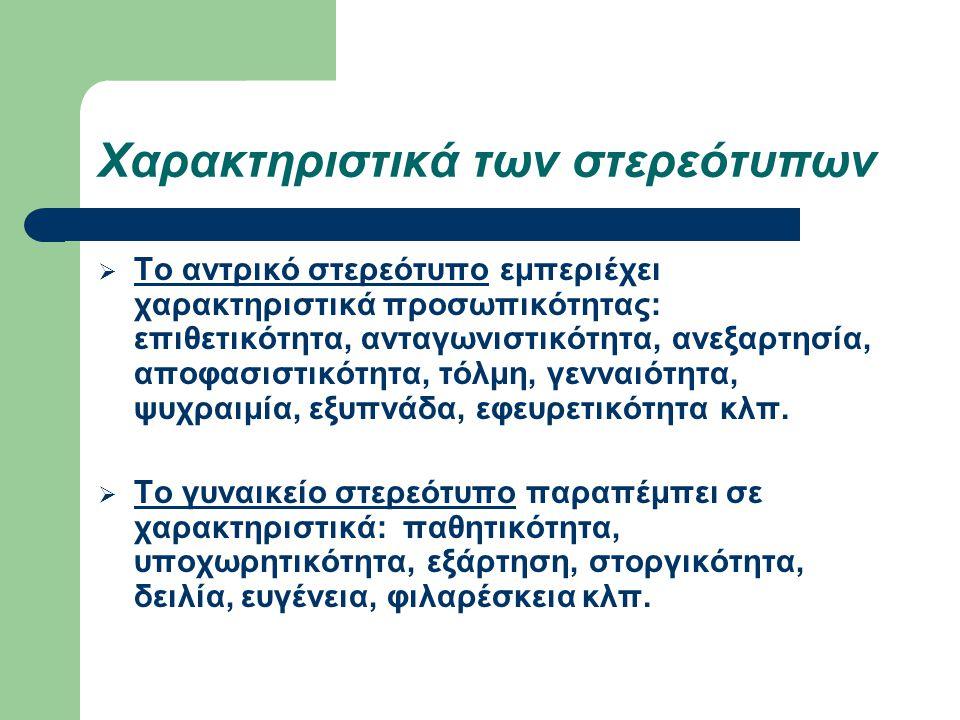 Χαρακτηριστικά των στερεότυπων  Το αντρικό στερεότυπο εμπεριέχει χαρακτηριστικά προσωπικότητας: επιθετικότητα, ανταγωνιστικότητα, ανεξαρτησία, αποφασ