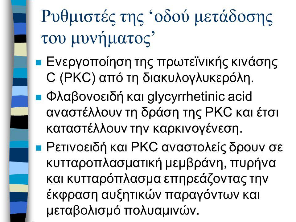 Ρυθμιστές της 'οδού μετάδοσης του μυνήματος' n Ενεργοποίηση της πρωτεϊνικής κινάσης C (PKC) από τη διακυλογλυκερόλη.