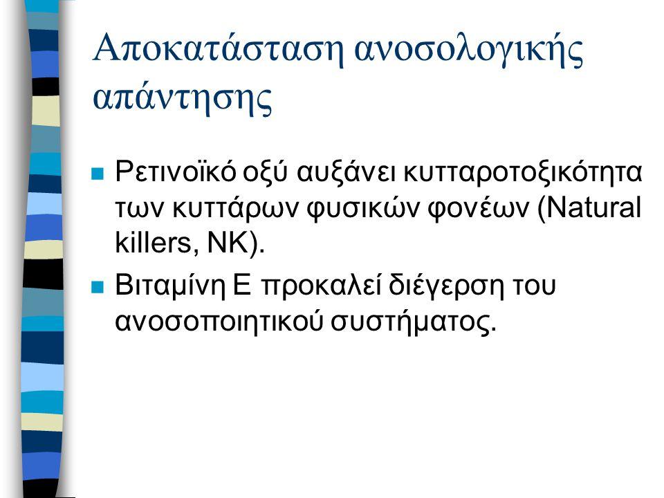 Αποκατάσταση ανοσολογικής απάντησης n Ρετινοϊκό οξύ αυξάνει κυτταροτοξικότητα των κυττάρων φυσικών φονέων (Natural killers, NK).