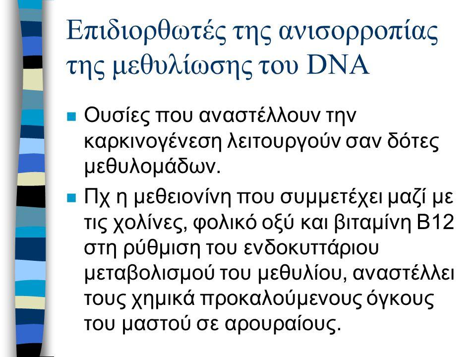 Επιδιορθωτές της ανισορροπίας της μεθυλίωσης του DNA n Ουσίες που αναστέλλουν την καρκινογένεση λειτουργούν σαν δότες μεθυλομάδων.