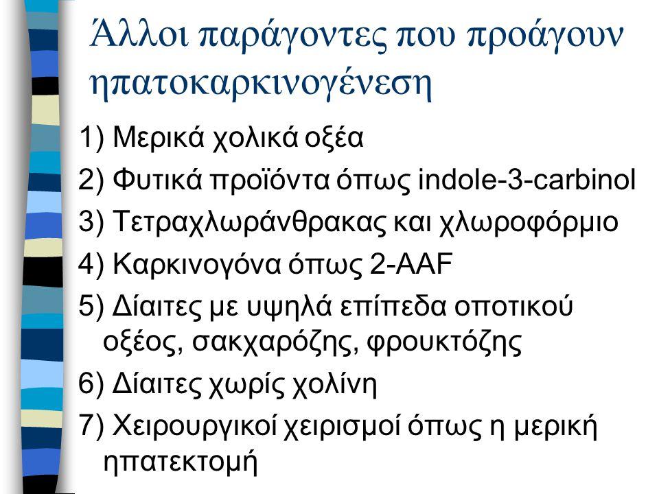 Άλλοι παράγοντες που προάγουν ηπατοκαρκινογένεση 1) Μερικά χολικά οξέα 2) Φυτικά προϊόντα όπως indole-3-carbinol 3) Τετραχλωράνθρακας και χλωροφόρμιο 4) Καρκινογόνα όπως 2-AAF 5) Δίαιτες με υψηλά επίπεδα οποτικού οξέος, σακχαρόζης, φρουκτόζης 6) Δίαιτες χωρίς χολίνη 7) Χειρουργικοί χειρισμοί όπως η μερική ηπατεκτομή