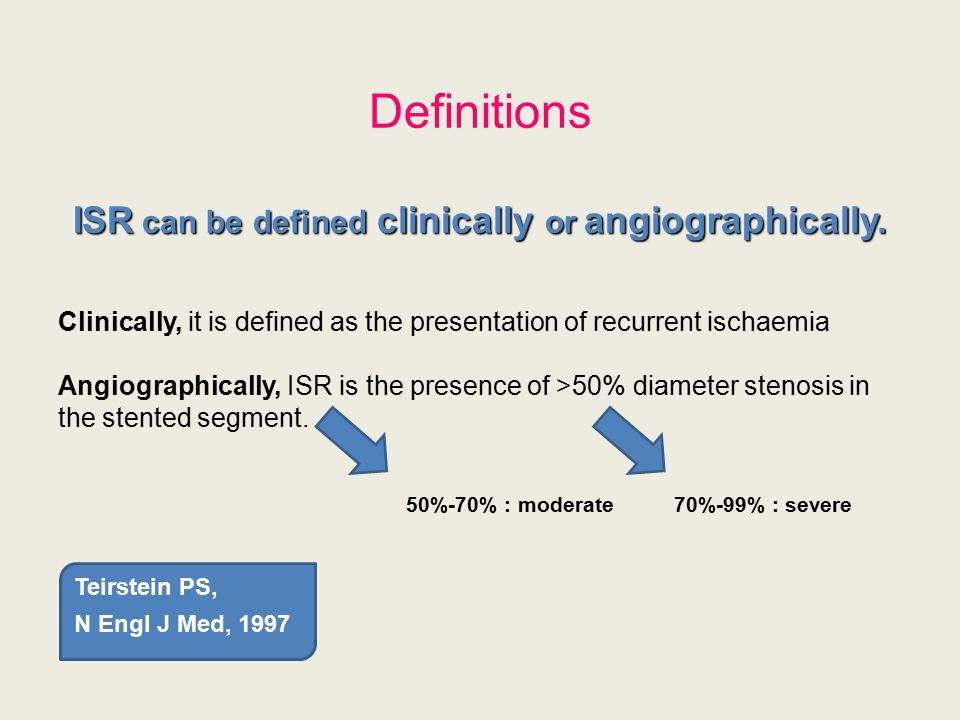 Definitions ISR can be defined clinically or angiographically. Clinically, it is defined as the presentation of recurrent ischaemia Angiographically,