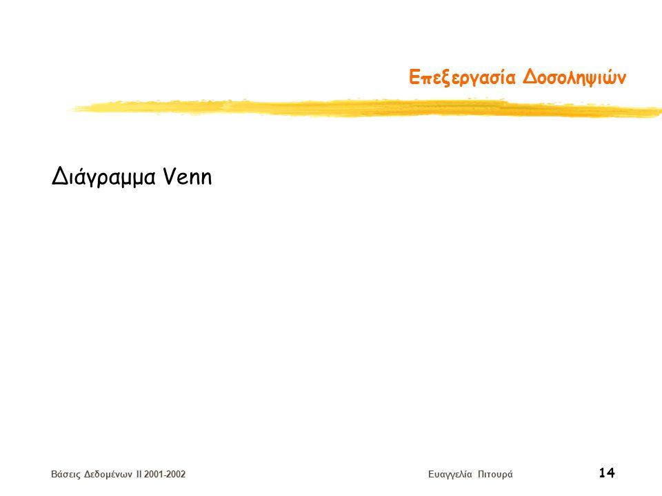 Βάσεις Δεδομένων II 2001-2002 Ευαγγελία Πιτουρά 14 Επεξεργασία Δοσοληψιών Διάγραμμα Venn