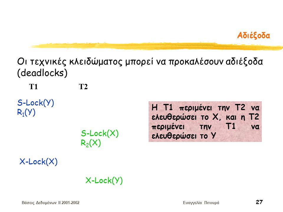 Βάσεις Δεδομένων II 2001-2002 Ευαγγελία Πιτουρά 27 Αδιέξοδα Οι τεχνικές κλειδώματος μπορεί να προκαλέσουν αδιέξοδα (deadlocks) S-Lock(Y) R 1 (Y) T1 T2 S-Lock(X) R 2 (X) X-Lock(X) X-Lock(Y) H T1 περιμένει την Τ2 να ελευθερώσει το Χ, και η Τ2 περιμένει την Τ1 να ελευθερώσει το Υ