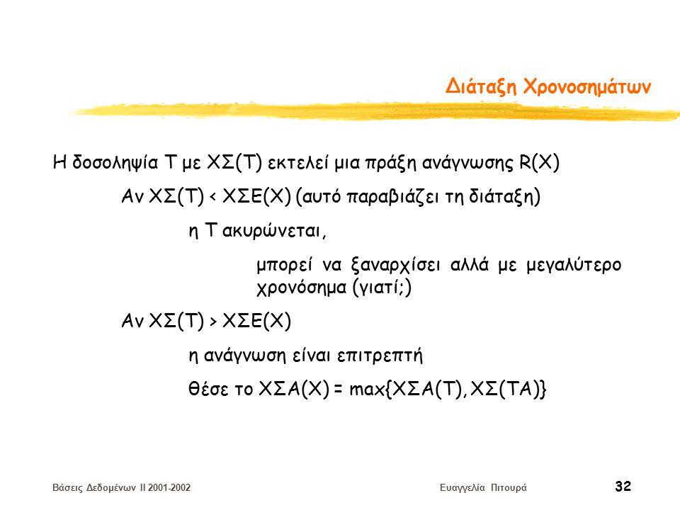 Βάσεις Δεδομένων II 2001-2002 Ευαγγελία Πιτουρά 32 Διάταξη Χρονοσημάτων Η δοσοληψία T με ΧΣ(Τ) εκτελεί μια πράξη ανάγνωσης R(X) Αν ΧΣ(Τ) < ΧΣE(Χ) (αυτό παραβιάζει τη διάταξη) η Τ ακυρώνεται, μπορεί να ξαναρχίσει αλλά με μεγαλύτερο χρονόσημα (γιατί;) Αν ΧΣ(Τ) > ΧΣE(Χ) η ανάγνωση είναι επιτρεπτή θέσε το ΧΣΑ(Χ) = max{XΣA(T), ΧΣ(ΤΑ)}