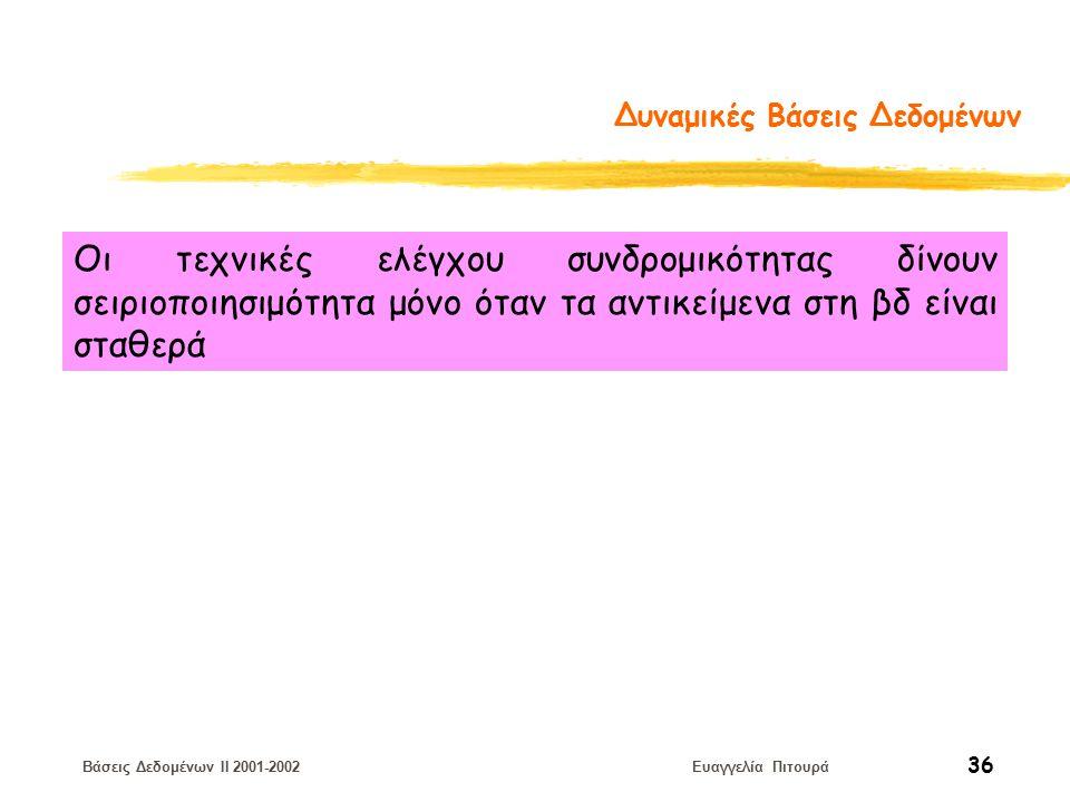 Βάσεις Δεδομένων II 2001-2002 Ευαγγελία Πιτουρά 36 Δυναμικές Βάσεις Δεδομένων Οι τεχνικές ελέγχου συνδρομικότητας δίνουν σειριοποιησιμότητα μόνο όταν τα αντικείμενα στη βδ είναι σταθερά