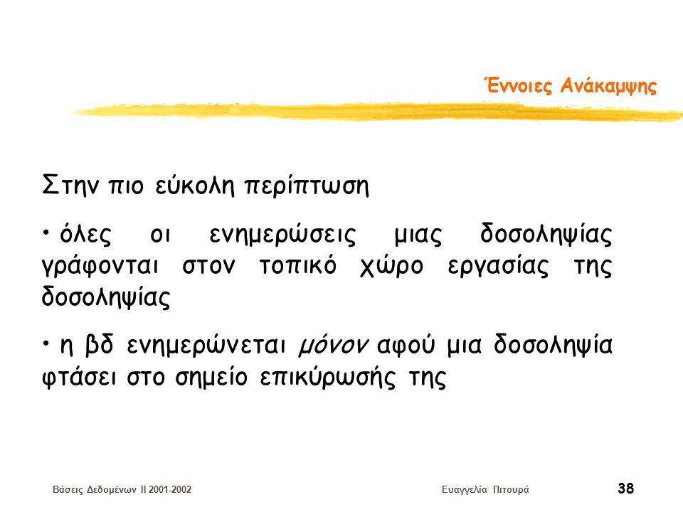 Βάσεις Δεδομένων II 2001-2002 Ευαγγελία Πιτουρά 38 Έννοιες Ανάκαμψης Στην πιο εύκολη περίπτωση όλες οι ενημερώσεις μιας δοσοληψίας γράφονται στον τοπικό χώρο εργασίας της δοσοληψίας η βδ ενημερώνεται μόνον αφού μια δοσοληψία φτάσει στο σημείο επικύρωσής της