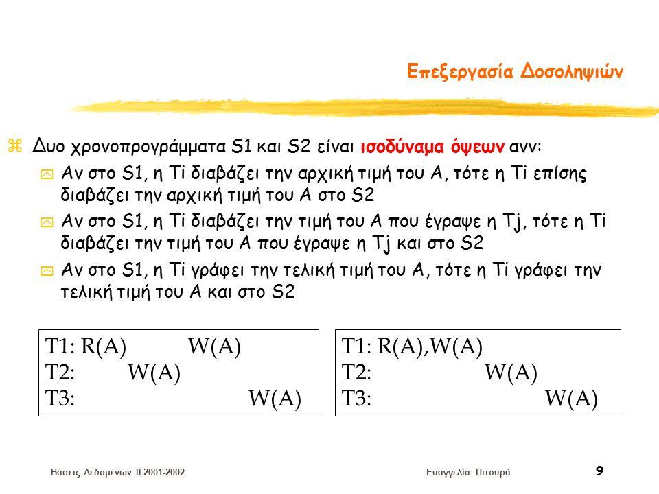 Βάσεις Δεδομένων II 2001-2002 Ευαγγελία Πιτουρά 9 Επεξεργασία Δοσοληψιών zΔυο χρονοπρογράμματα S1 και S2 είναι ισοδύναμα όψεων ανν: y Αν στο S1, η Ti διαβάζει την αρχική τιμή του A, τότε η Ti επίσης διαβάζει την αρχική τιμή του A στο S2 y Αν στο S1, η Ti διαβάζει την τιμή του A που έγραψε η Tj, τότε η Ti διαβάζει την τιμή του A που έγραψε η Tj και στο S2 y Αν στο S1, η Ti γράφει την τελική τιμή του A, τότε η Ti γράφει την τελική τιμή του A και στο S2 T1: R(A) W(A) T2: W(A) T3: W(A) T1: R(A),W(A) T2: W(A) T3: W(A)