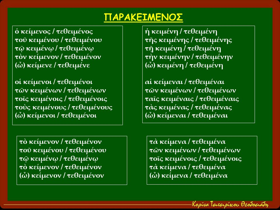 ὁ κείμενος / τεθειμένος τοῦ κειμένου / τεθειμένου τῷ κειμένῳ / τεθειμένῳ τὸν κείμενον / τεθειμένον (ὦ) κείμενε / τεθειμένε οἱ κείμενοι / τεθειμένοι τῶν κειμένων / τεθειμένων τοῖς κειμένοις / τεθειμένοις τοὺς κειμένους / τεθειμένους (ὦ) κείμενοι / τεθειμένοι ἡ κειμένη / τεθειμένη τῆς κειμένης / τεθειμένης τῇ κειμένῃ / τεθειμένῃ τὴν κειμένην / τεθειμένην (ὦ) κειμένη / τεθειμένη αἱ κείμεναι / τεθειμέναι τῶν κειμένων / τεθειμένων ταῖς κειμέναις / τεθειμέναις τὰς κειμένας / τεθειμένας (ὦ) κείμεναι / τεθειμέναι τὸ κείμενον / τεθειμένον τοῦ κειμένου / τεθειμένου τῷ κειμένῳ / τεθειμένῳ τὸ κείμενον / τεθειμένον (ὦ) κείμενον / τεθειμένον ΠΑΡΑΚΕΙΜΕΝΟΣ τὰ κείμενα / τεθειμένα τῶν κειμένων / τεθειμένων τοῖς κειμένοις / τεθειμένοις τὰ κείμενα / τεθειμένα (ὦ) κείμενα / τεθειμένα