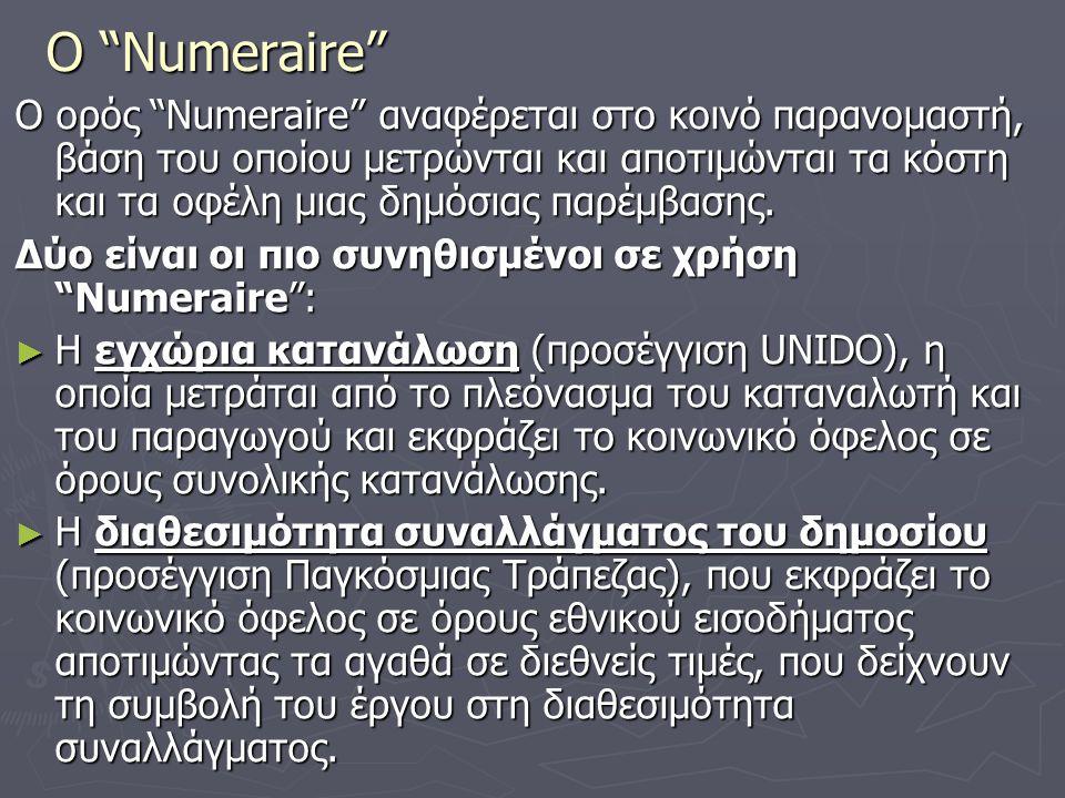"""Ο """"Numeraire"""" Ο ορός """"Numeraire"""" αναφέρεται στο κοινό παρανομαστή, βάση του οποίου μετρώνται και αποτιμώνται τα κόστη και τα οφέλη μιας δημόσιας παρέμ"""