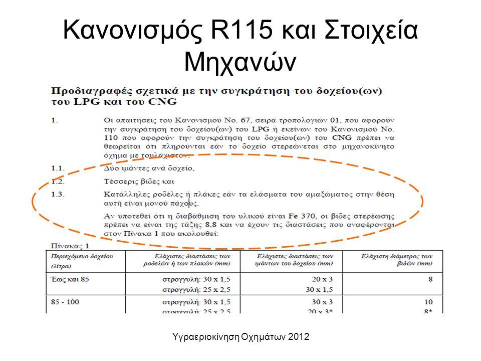Υγραεριοκίνηση Οχημάτων 2012 Κανονισμός R115 και Στοιχεία Μηχανών