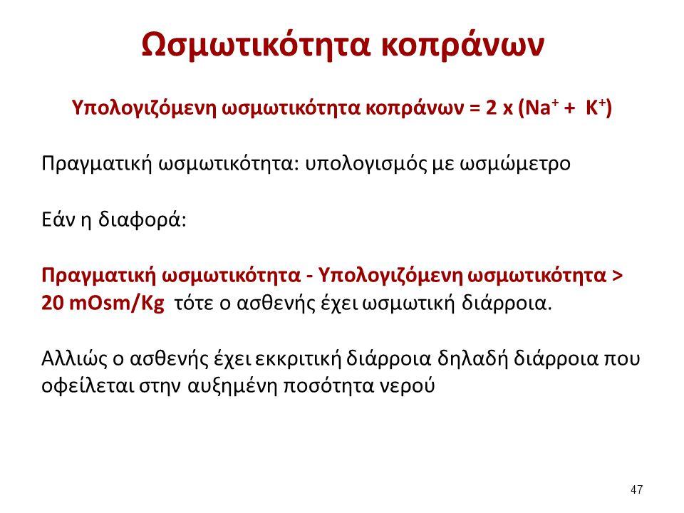 Ωσμωτικότητα κοπράνων Υπολογιζόμενη ωσμωτικότητα κοπράνων = 2 x (Na + + Κ + ) Πραγματική ωσμωτικότητα: υπολογισμός με ωσμώμετρο Εάν η διαφορά: Πραγματ