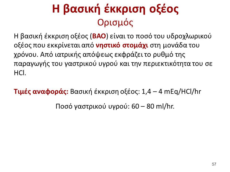 Η βασική έκκριση οξέος Ορισμός Η βασική έκκριση οξέος (ΒΑΟ) είναι το ποσό του υδροχλωρικού οξέος που εκκρίνεται από νηστικό στομάχι στη μονάδα του χρό