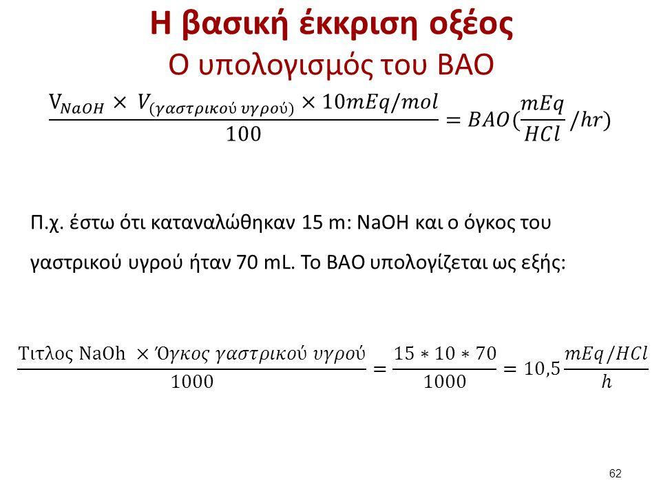 Η βασική έκκριση οξέος O υπολογισμός του BAO 62 Π.χ. έστω ότι καταναλώθηκαν 15 m: ΝaOH και ο όγκος του γαστρικού υγρού ήταν 70 mL. Το ΒΑΟ υπολογίζεται